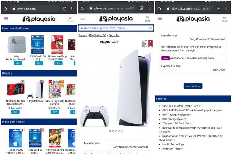 Tangkapan layar situs PlayAsia yang memampang harga PS5, Sabtu (13/6/2020).