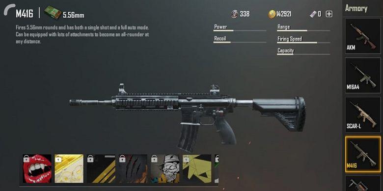 Senjata Assault Rifle (AR) M416 dalam gim Player Unknowns Battleground (PUBG) Mobile.