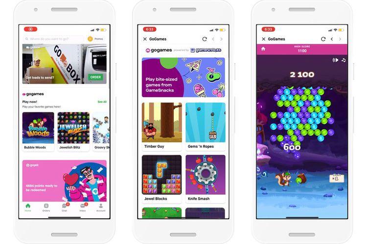 Tangkapan layar beberapa game yang tersedia di GameSnack.