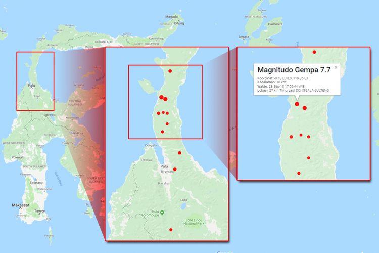 Gempa beruntun di Sulawesi Tengah pada 28 September 2018 mulai pukul 14.00 WIB hingga 18.06 WIB.