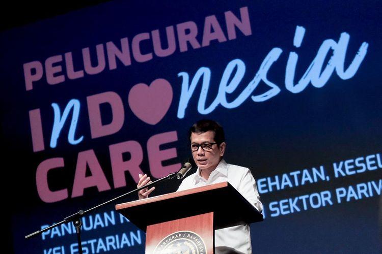 Mantan Menteri Pariwisata dan Ekonomi Kreatif Wishnutama Kusubandio dalam peluncuran logo Indonesia Care.