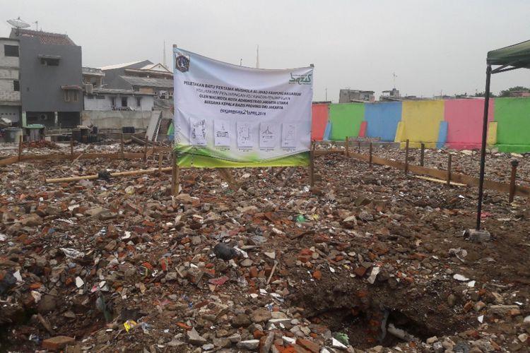 Lahan yang akan dibangun Mushala Al Jihad di Kampung Akuarium, Jakarta Utara, Selasa (24/4/2018).
