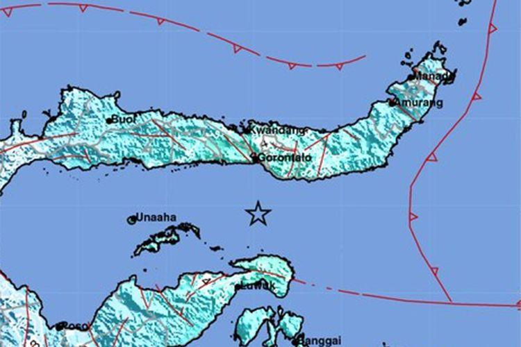 Gempa bumi ini memiliki parameter update dengan magnitudo 6,2 Mw. Episenter terletak pada koordinat 0,04 Lintang Selatan dan 123,03 Bujur Timur atau berada di laut pada jarak 70 km arah selatan Kota Gorontalo pada kedalaman 148 km.