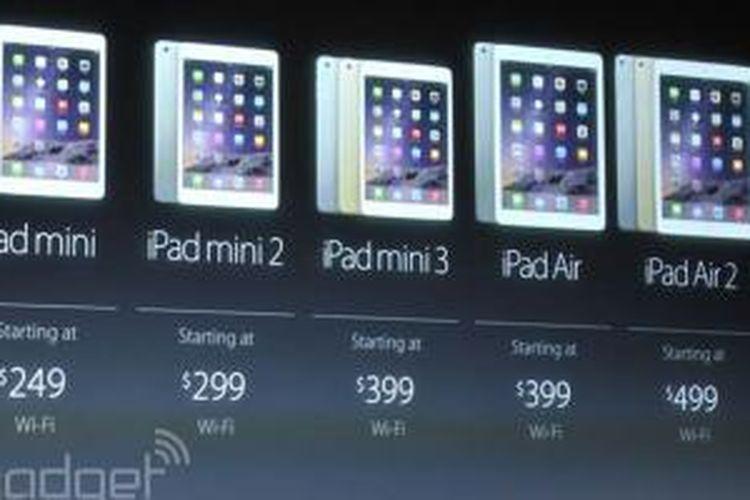 Slide presentasi berisi daftar harga kedua model iPad baru dalam presentasi acara Apple di Cupertino, AS, Kamis (16/10/2014)