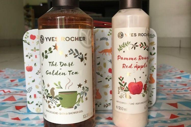 Produk shampo dan body lotion Yves Rocher edisi Natal.