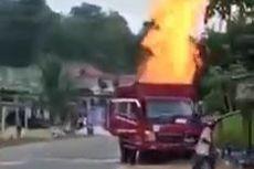 Truk Pengangkut Ratusan Tabung Elpiji Ludes Terbakar, Diduga Ada Kebocoran Gas