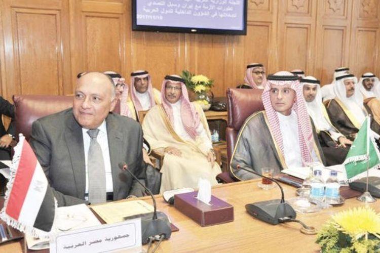 Suasana pertemuan darurat para menlu Liga Arab di Kairo, Mesir (19/11/2017). Dalam pertemuan itu, Liga Arab menyerukan persatuan dan konfrontasi terhadap Iran