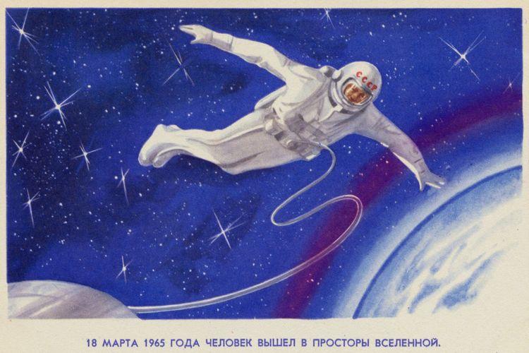 Ilustrasi Alexei Leonov ketika di angkasa