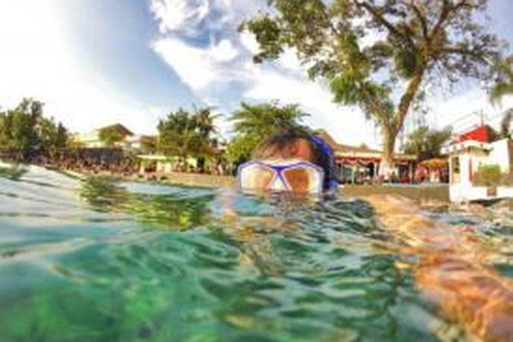 Pepohonan besar mengelilingi Umbul Ponggok dengan air yang jernih. Seorang pengunjung sedang ber-snorkling menikmati pemandangan bawah air yang berisi berbagai jenis ikan.