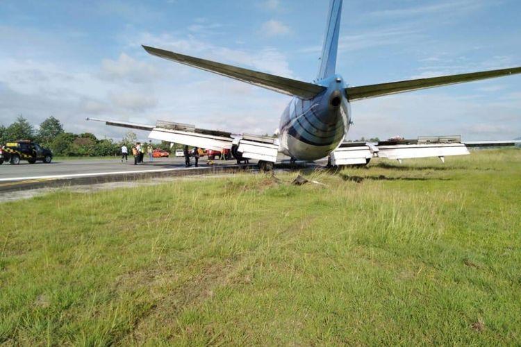 A file photo of a Trigana Air cargo plane skids off in Sentani Airport in Jayapura, Papua dated February 25, 2020.