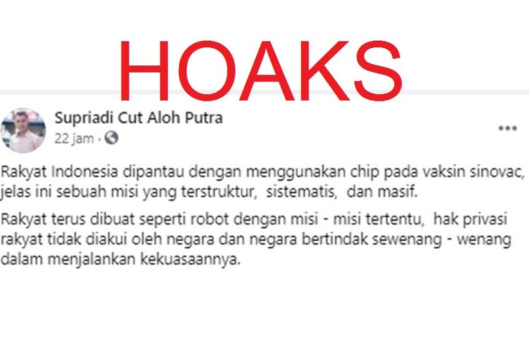 Tangkapan layar unggahan hoaks yang menyebut vaksin Sinovac yang digunakan di Indonesia telah dipasangi chip.