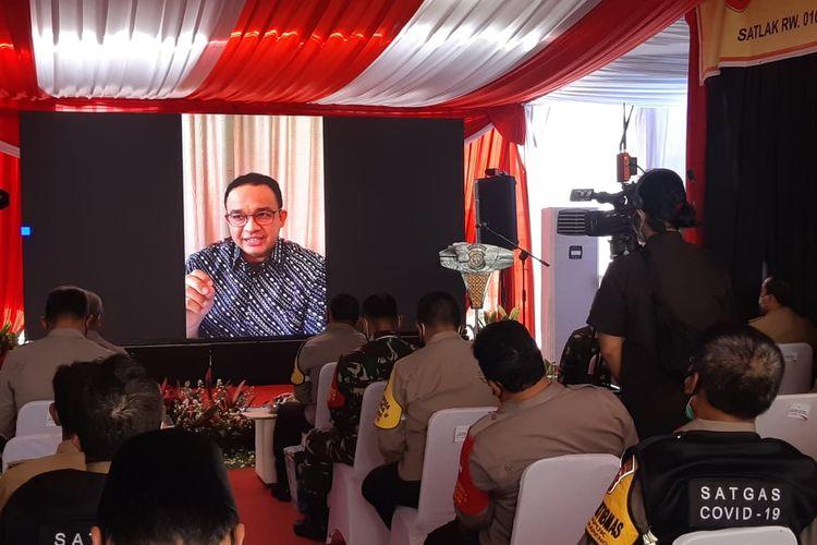 Gubernur DKI Jakarta Anies Baswedan menghadiri peluncuran Kampung Tangguh Jaya di Kelurahan Kapuk, Cengkareng, Jakarta Barat, secara virtual pada Selasa (8/12/2020).