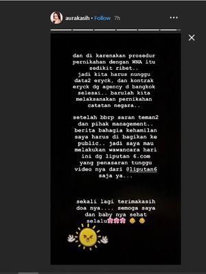 Melalui Insta Story Aura Kasih mengungkap bahwa ia menikah secara siri di Bangkok sebelum menikah secara negara di Jakarta.
