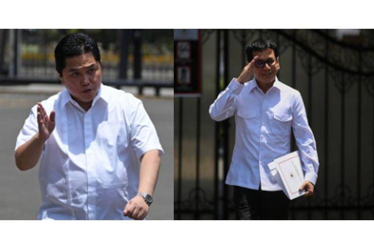 Erick Thohir (kiri) dan Wishnutama (kanan) saat mendatangi Kompleks Istana Kepresidenan, Jakarta, Senin (21/10/2019).