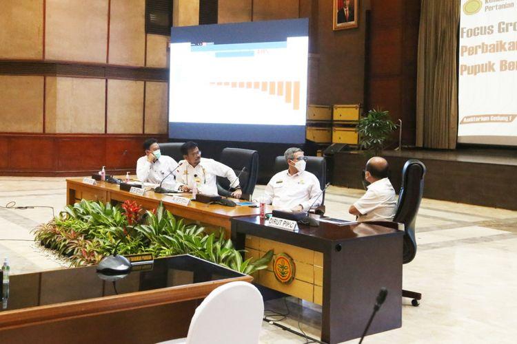 Kementerian Pertanian (Kementan) menggelar Focus Group Discussion (FGD) Tata Kelola Pupuk Bersubsidi, Rabu (5/5/2021).