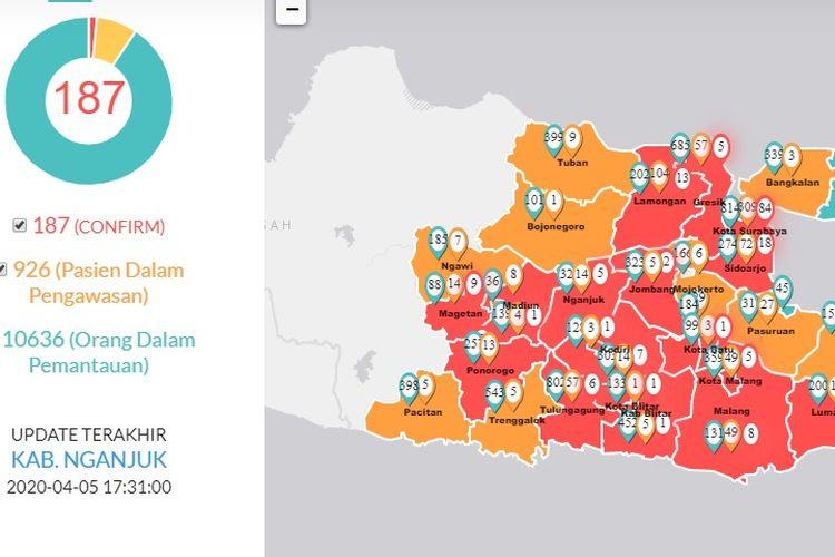 Hingga Minggu (5/4/2020), kasus positif Covid-19 di Jatim berjumlah 187 kasus, PDP 926 orang, dan ODP 10.636 orang.