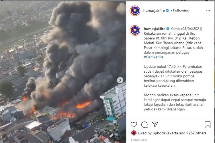 Kebakaran terjadi di Pasar Kambing, Kecamatan Tanah Abang, Jakarta Pusat pada Kamis (8/4/2021).