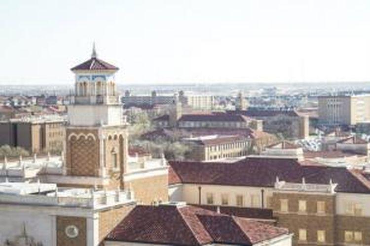 Ciri-ciri yang khusus untuk gaya Universitas Texas Tech adalah barisan tiang, penggunaan material seperti campuran bata, serta simetri dan rasio komponen bangunan menggunakan material batu.