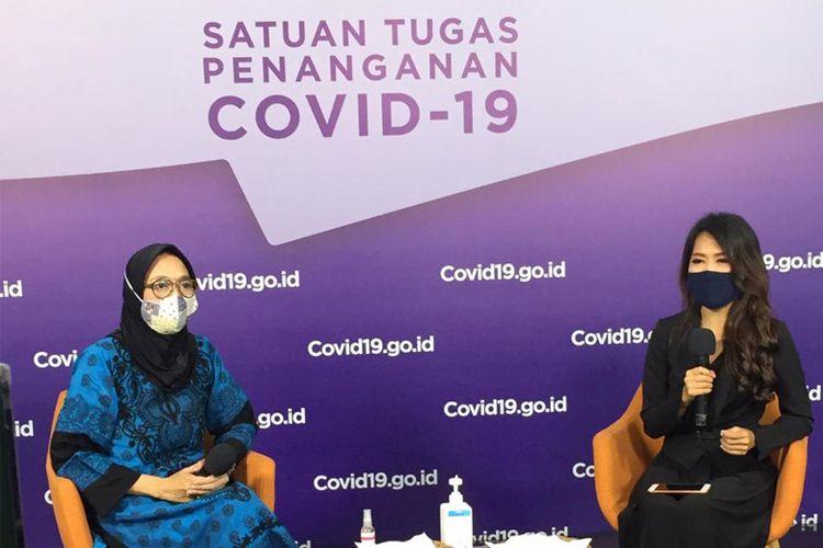 Mira Amir dalam talkshow Menghapus Stigma Pasien Covid-19 di Media Center Satuan Tugas Penanganan Covid-19 Graha BNPB Jakarta pada Jumat (9/10).