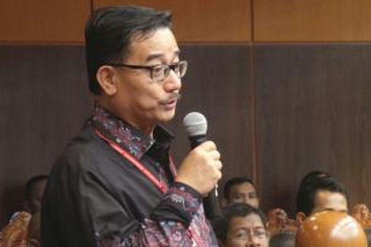 Ketua Badan Pemenangan Pemilu Partai Nasdem Ferry Mursyidan Baldan bersaksi di sidang perselisihan hasil pemilihan umum di Gedung Mahkamah Konstitusi, Kamis (14/8/2014).
