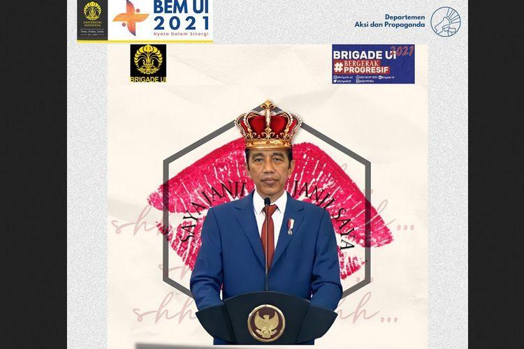 Konten yang diunggah BEM UI di media sosialnya, yaitu Jokowi: The King of Lip Service yang menuai polemik.
