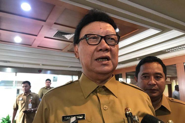 Menteri Dalam Negeri Tjahjo Kumolo di Kantor Kemendagri, Jakarta Pusat, Senin (4/3/2019).