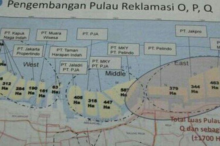 Gambar proyek reklamasi 17 Pulau di Teluk Jakarta.