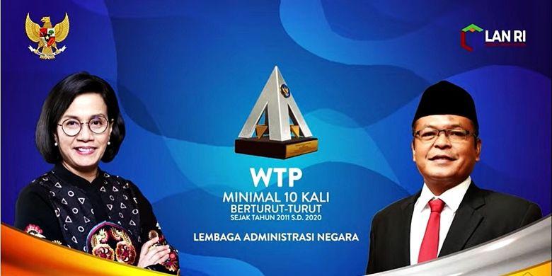 Penyerahan penghargaan Wajar Tanpa Pengecualian (WTP) kepada Kepala LAN Adi Suryanto secara virtual melalui Rapat Kerja Nasional (Rakernas) Akuntansi dan Pelaporan Keuangan Pemerintah Tahun 2020, Selasa (14/9/2021).