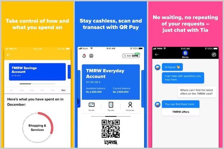 Screenshot tampilan aplikasi Bank Digital, TMRW