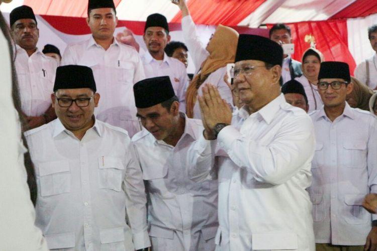 Ketua Umum Partai Gerindra Prabowo Subianto ketika ditemui saat perayaan HUT Partai Gerindra ke-10 di kantor DPP Partai Gerindra, Ragunan, Jakarta, Sabtu (10/2/2018).