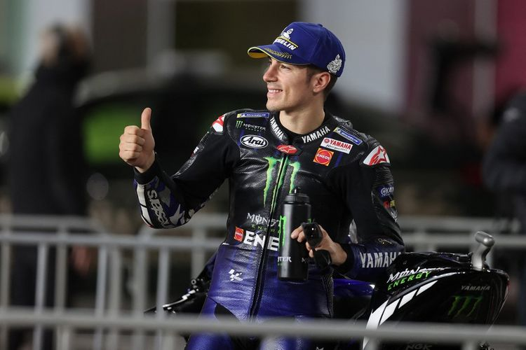 Monster Energy Yamaha MotoGP's Spanish rider Maverick Vinales reacts during the Moto GP Grand Prix of Doha at the Losail International Circuit, in the city of Lusail on April 3, 2021. (Photo by KARIM JAAFAR / AFP)