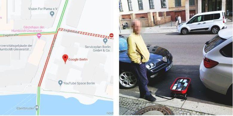 Hasil dari 99 ponsel aktif yang dibawa Simon di jalanan Berlin membuat jalanan tersebut terdeteksi macet di Google Maps