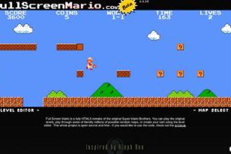 Game Super Mario Bros bisa dimainkan dari browser
