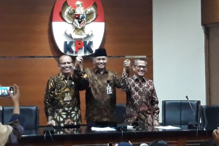Ketua KPK Agus Rahardjo dan Pimpinan Komisi Yudisial Jaja Ahmad Jayus di Gedung KPK Jakarta, Jumat (13/7/2018).