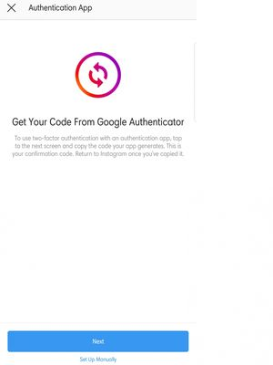 Pilihan memasang aplikasi Google Authenticator sebagai sarana two-factor authentication di Instagram.