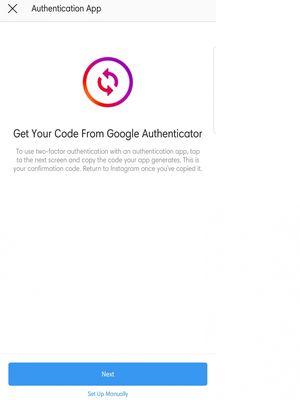 Pilihan memasang aplikasi Google Authenticator sebagai sarana two-factor authentication di Instagram.