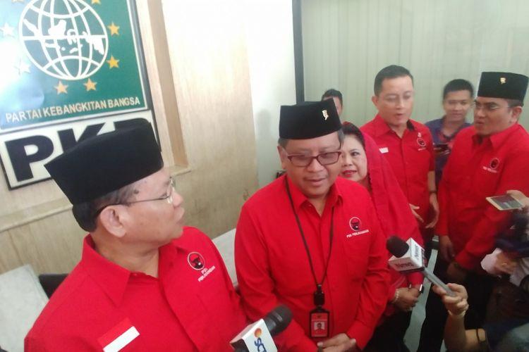Pengurus PDI-P berkunjung ke kantor PKB bertemu Ketua Umum PKB Muhaimin Iskandar, Selasa (10/4/2018).
