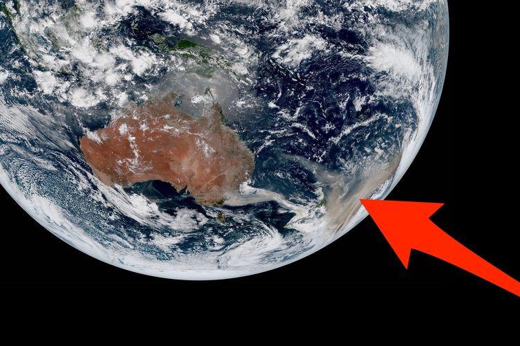 Citra satelit (2/1/2020) yang menunjukkan kondisi kebakaran Australia.