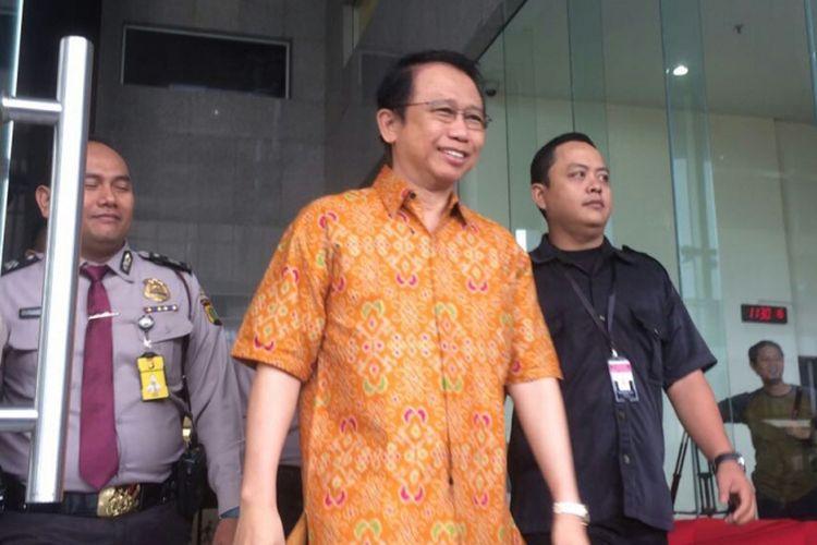 Mantan Ketua DPR RI Marzuki Ali selesai diperiksa Komisi Pemberantasan Korupsi (KPK) sebagai saksi pada kasus e-KTP, Rabu (9/8/2017).