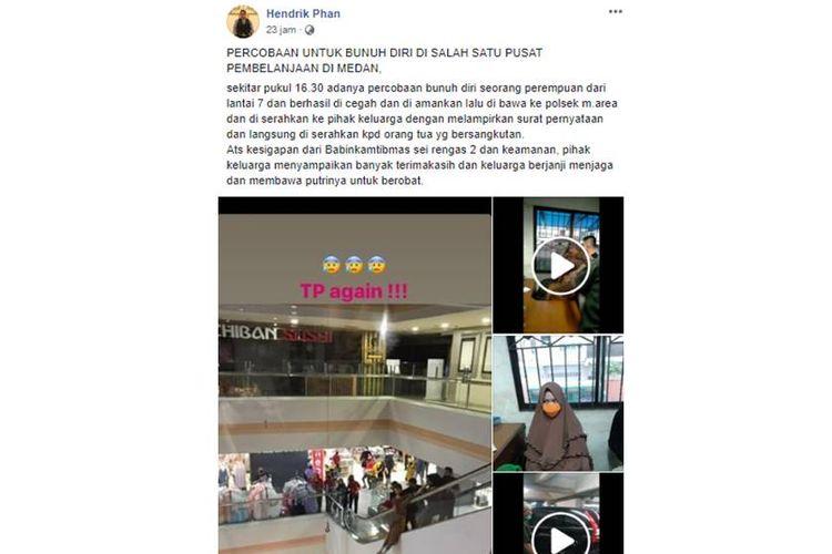 Tangkapan layar unggahan yang menjelaskan adanya wanita yang mencoba melakukan percobaan bunuh diri di sebuah pusat perbelanjaan di Medan.