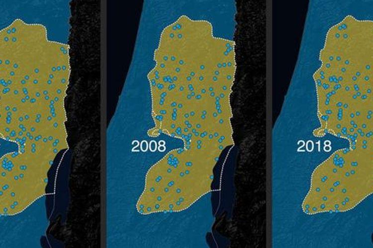 Skema pencaplokan wilayah Tepi Barat Palestina oleh Israel.