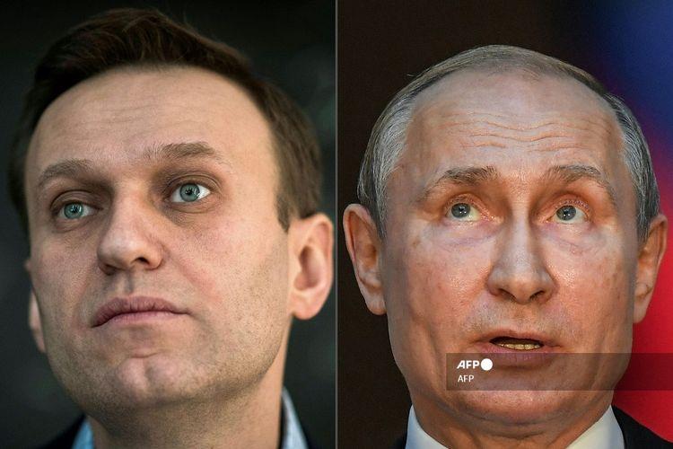 Kombinasi gambar yang dibuat pada 1 Oktober 2020 ini menunjukkan pemimpin oposisi Rusia Alexei Navalny (kiri, 16 Januari 2018 di Moskwa) dan Presiden Rusia Vladimir Putin (pada 4 Juli 2019 di Roma).