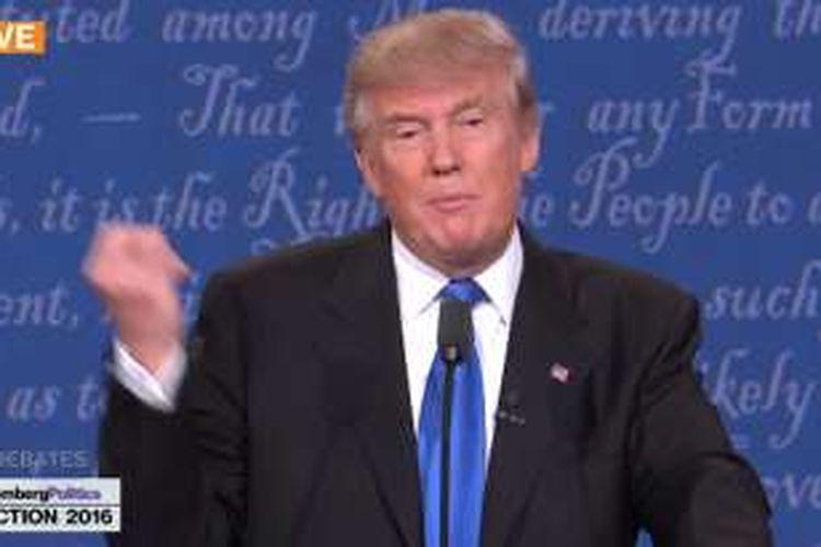 Kandidat Presiden Amerika Serikat dari Partai Republik Donald Trump saat berbicara di ajang debat Pilpres AS, Selasa (27/9/2016) di New York.