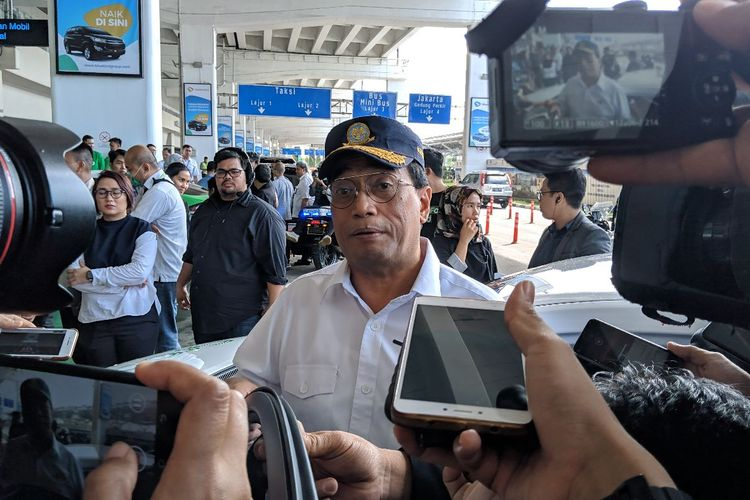 Transport Minister Budi Karya Sumadi in an interview at Terminal 3 of Soekarno-Hatta International Airport.