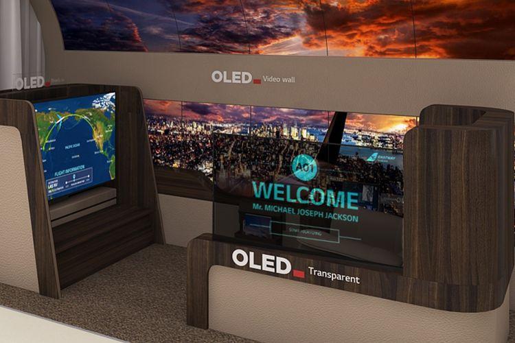 TV LG yang bisa dipasang di beragam tempat di pesawat.