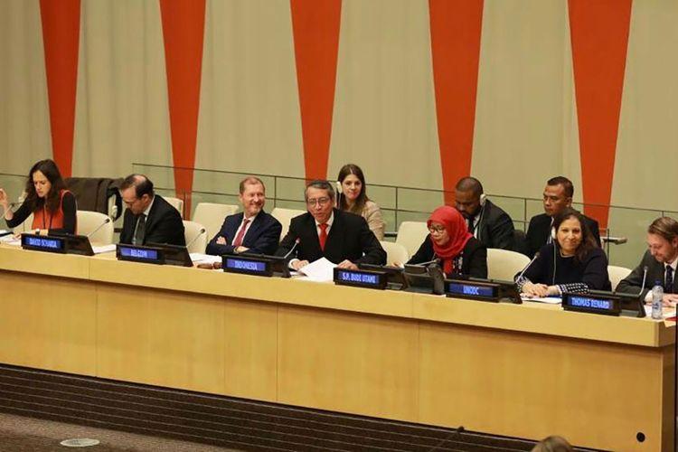 Perwakilan Indonesia dalam pertemuan Arria-Formula DK PBB di Markas Besar PBB, New York, Selasa (12/11/2019).