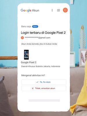 Ilustrasi notifikasi di Gmail terkait aktivitas login akun Google di perangkat tertentu.