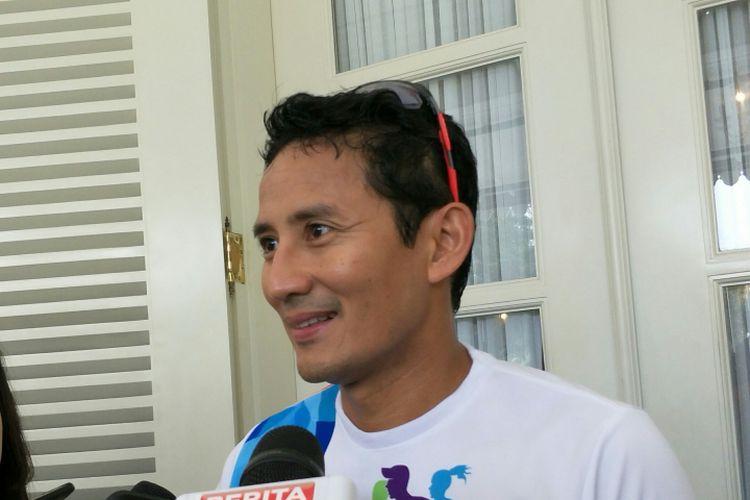 Wakil Gubernur DKI Jakarta Sandiaga Uno di Balai Kota DKI Jakarta, Jalan Medan Merdeka Selatan, Selasa (9/1/2018).