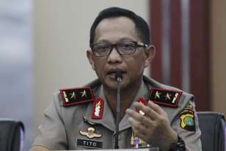 Tito Karnavian saat masih menjabat Kapolda Metro Jaya dan berpangkat Inspektur Jenderal, memberikan rilis kasus pembunuhan bocah di dalam kardus, di Polda Metro Jaya, Jakarta, pada Sabtu (10/10/2015).