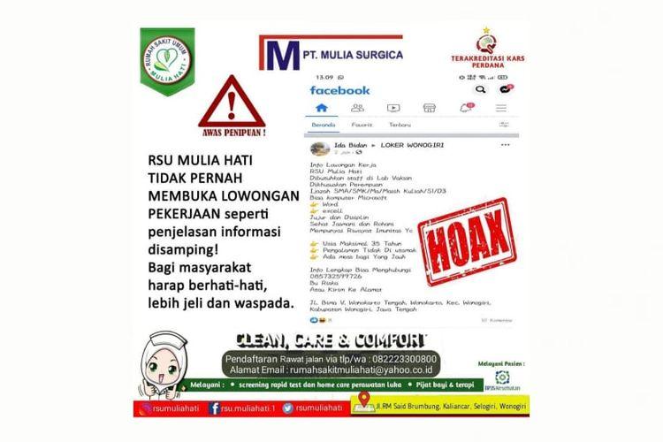 Pengumuman RSU Mulia Hati, Wonogiri, Jawa Tengah, mengenai informasi hoaks lowongan pekerjaan.